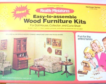 Miniature Living Room, Dollhouse Living Room, Miniature Kit, Dollhouse Kit, Dollhouse Furniture Kit, Miniature Furniture, Miniature Couch