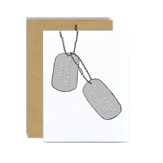 Dog tag military greeting card army care package always near my heart never far apart soldier army marine navy sailor air force pilot kraft