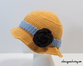 Women's Crochet Sun Hat, Fedora, with flower attachment, Ready to Ship