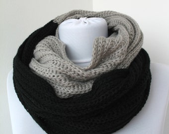 CLEARANCE SALE - Black Gray Knit Scarf - Infinity Scarf - Loop Scarf - Soft Circle Scarf     820