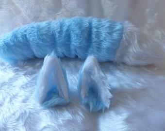 Light Blue Ice Wolf Fox Furry Cosplay Set Ears on Hair Clips Tail Kitsune Anime Halloween Costume Festival Fursuit