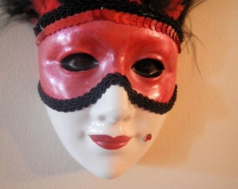 Feathered Masked Face Wall Hanging