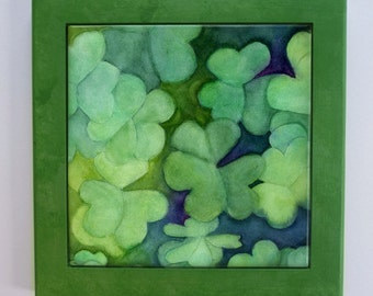 Shamrock Clover Framed Tile Trivet Watercolor St. Patrick's Day