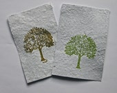 5 Earth Day Tree Note Cards / Flat Cards Made On Homemade Paper