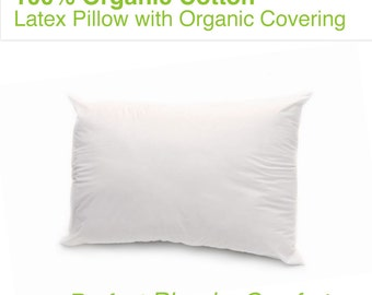 Premium 100% Organic Cotton - All Natural Latex Pillow with Organic Cotton Covering - Standard Size - The Perfect Blend of Comfort