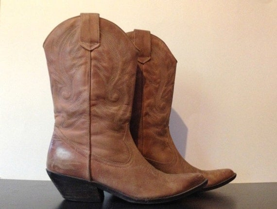 s pink brown leather cowboy boots country western