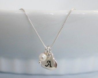Personalized Sterling Silver Heart Necklace, Custom Initial Heart Necklace with Swarovski Pearls