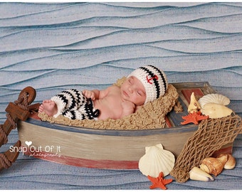 Nautical Crochet Newborn Outfit ~ Photo Prop ~ Sailor Pants and Beanie Hat