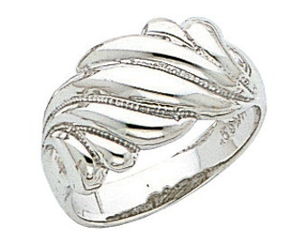 14k white gold fancy shrimp polished ring.
