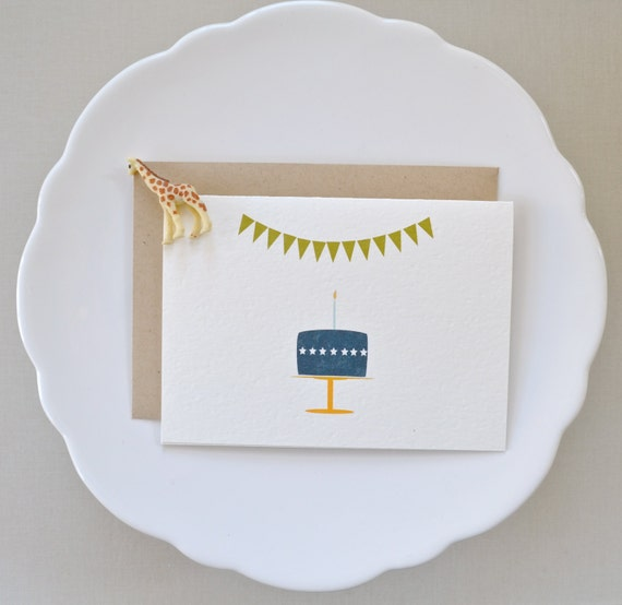 Items similar to Birthday cake, candle and bunting blank ...