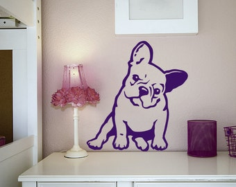 French Bulldog Melancholy Wall Decal, Puppy Dog Decal , Frenchie Vinyl Sticker Decal - Good for Walls, Cars, Ipads, Mirrors Etc