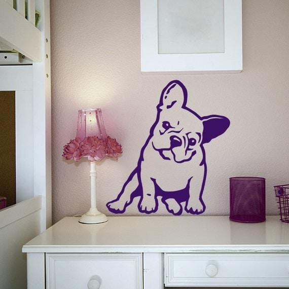 Bouledogue fran ais m lancolie wall sticker autocollant de for Autocollant mural francais