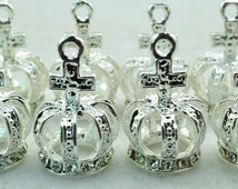 10 pcs of Silver plated rhinestone Charm crown Pendant  in 12mm wideX 20mm length