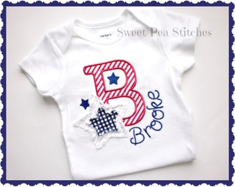 4th of July Shirt - Patriotic Shirt - Girls Embroidered Shirt - baby's 1st 4th of July - Personalized 4th Of July Shirt - Monogram Shirt