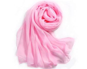 Light Pink Chiffon Scarf - Baby Pink Chiffon Scarf - 30D39