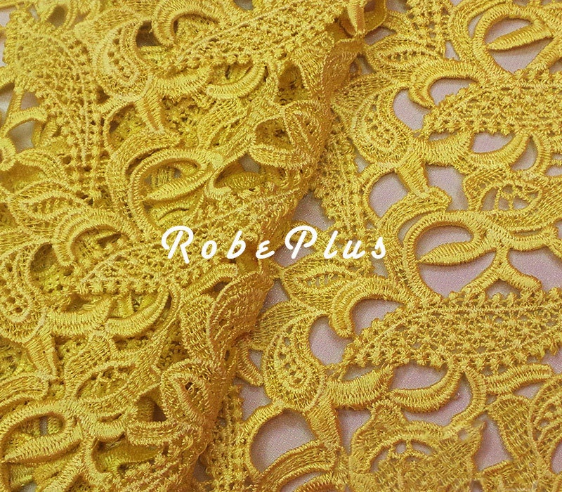 Yellow lace fabric floral corn