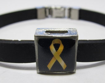 Childhood Cancer Awareness Gold Ribbon Link With Choice Of Colored Band Charm Bracelet