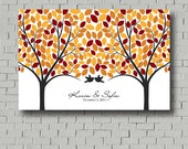 Fall Love Tree Guest Book - Wedding Guest Book - Signature Tree Print for wedding reception - Personalized Wedding Poster - Custom Guestbook