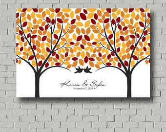 Fall Love Tree Guest Book - Wedding Guest Book Signature Tree Print for wedding reception - Personalized Wedding Poster - Custom Guestbook