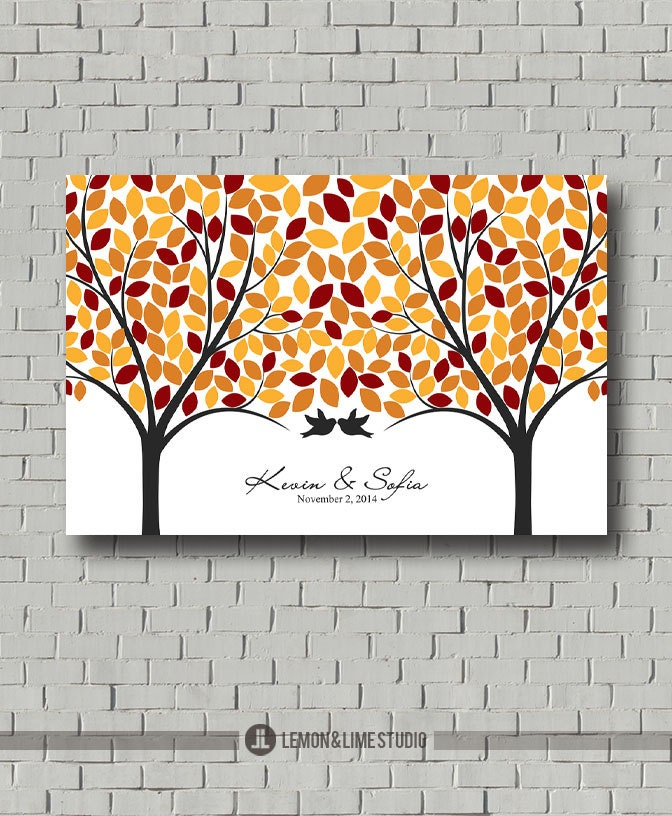 Wedding Guest Signing Tree: Fall Love Tree Guest Book Wedding Guest Book Signature Tree