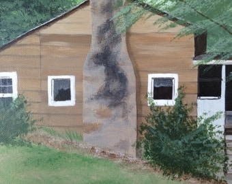 FREE SHIPPING - Grandma's House - 8x10 acrylic painting on canvas of old Kentucky home
