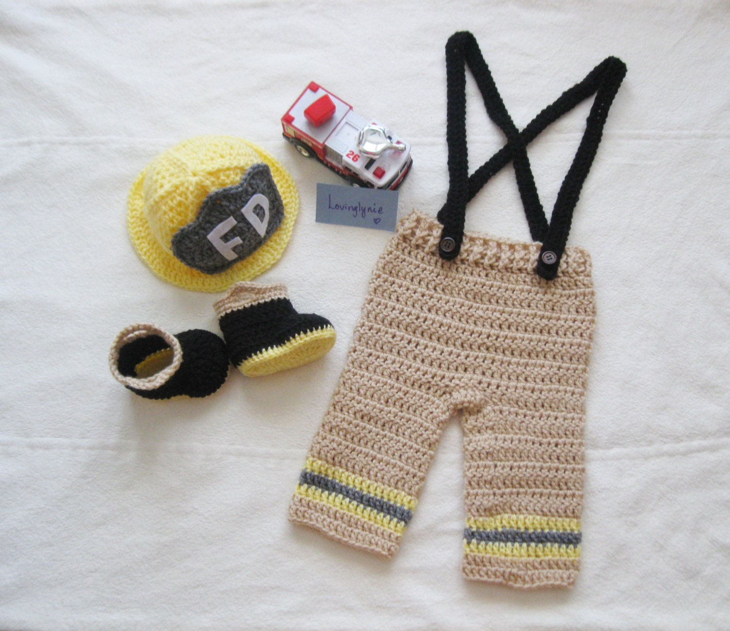 Crochet Patterns For Baby Frocks : Crochet fireman baby outfit / photo prop / baby by LovinglyNie