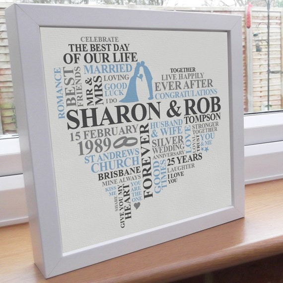 Unusual Silver Wedding Anniversary Gifts: Items Similar To Personalised Print. Silver Anniversary
