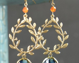 Navy Coral orange-Bridesmaid jewelry sapphire blue Gold Drop Earrings Wedding Bridal Wedding Dangle Earrings Bridal Jewelry  Bridesmaid Gift