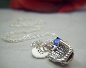 Sterling Silver Softball or Baseball Mitt Charm Necklace with Sterling Silver Initial and Swarovski Birthstone Crystal