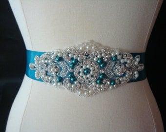 Bridal Sash - Wedding Dress Sash Belt - Turqoise Pearl and Rhinestone Ivory Sash - Deep Turquoise Rhinestone Bridal Sash