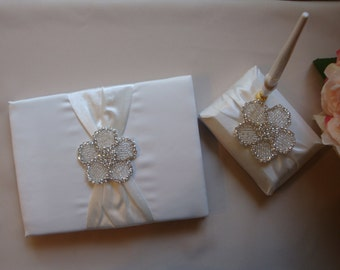 Wedding Guest Book - Ivory Bridal Guest Book - Rhinestone Guest Book and Pen Set