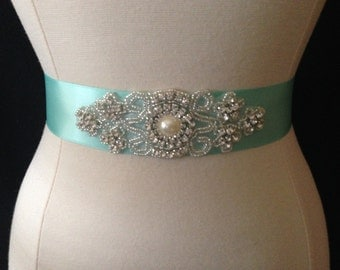 Bridal Sash - Wedding Dress Sash Belt - Aqua Blue Rhinestone Sash - Aqua Rhinestone Bridal Sash