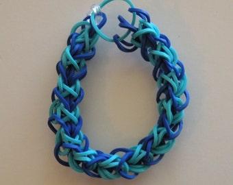 Diamond weave Rubber band Bracelet By Brittani     Aqua and dark blue  or Custome colors Latex Free