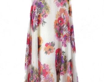 Vintage Floral Print Full Length Skirt