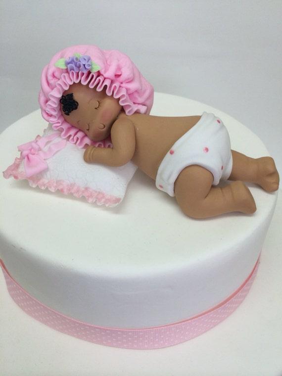 African American Sleepying Baby Cake Topper