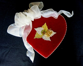 """Anniversary, Valentine's or Wedding red velvet heart box.  German gold and silver foils, brass swans and """"I Love you"""" sentiment inside."""
