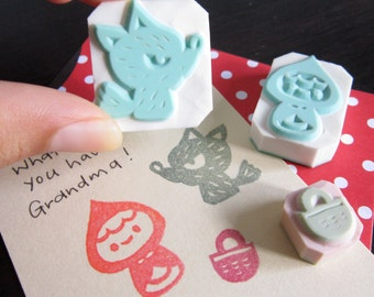 Little Red Riding Hood Rubber Stamps - Set of 3