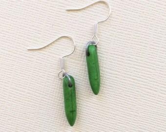 ON SALE Green Bullet Earrings