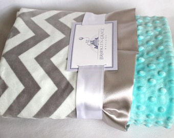 Gray and White Chevron Minky Blanket with Salt Water Blue Minky Dot on Reverse - Baby Minky Blanket, boy or girl, baby shower, birthday