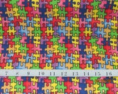 AUTISM AWARENESS Multi-Colors Puzzle Piece Flannel Fabric