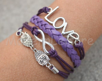 Bracelet Infinity bracelet owl bracelet love bracelet karma bracelet Silver Charm bracelet Jewelry