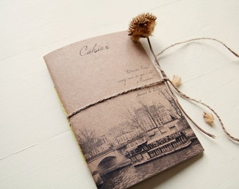 From Paris with love notebook, handmade notebook, recycled paper 100%, eco friendly
