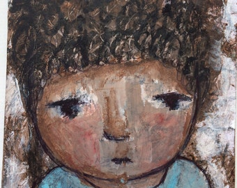 Art Mixed media ORIGINAL painting boy, baby shower gift  portraits, whimsical, home decor