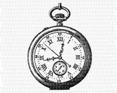 Digital Victorian Style Pocket Watch Clip Art Clock Face Vintage Letter Size Illustrations Printable High Resolution 300dpi Graphics Img2019