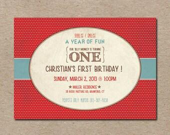 Vintage Sock Monkey Theme, First Birthday Invitation, Digital, Printable File
