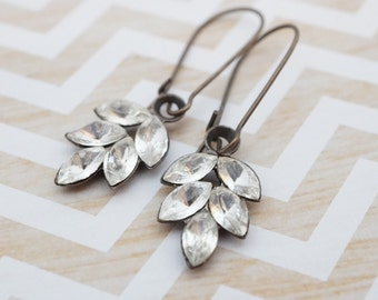 Earrings,  Brass and Crystal Leaf dangle earrings Bridal, Bridesmaid jewelry No. 384