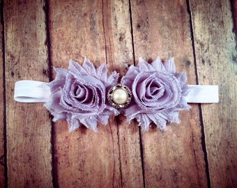 Grey Shabby Flower Headband w/ Embellishment