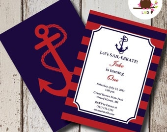 Preppy Nautical Striped Anchor Invitations - Anchor, Nautical Preppy, Red, Navy - EDITABLE INSTANT DOWNLOAD