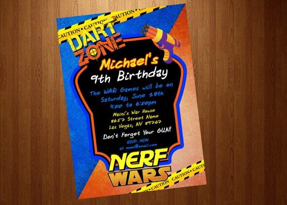 Nerf personalizado invitación imprimible Nerf guerras