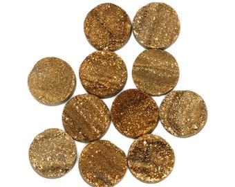 14mm Amazing Grade AA 1 Piece Gold Round Chalcedony Druzy Cabochon B130DR0526